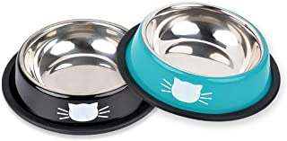 Sponsored Ad - 2Pcs Cat Bowl Pet Bowl Stainless Steel Cat Food Water Bowl with Non-Slip Rubber Base Small Pet Bowl Easy to...