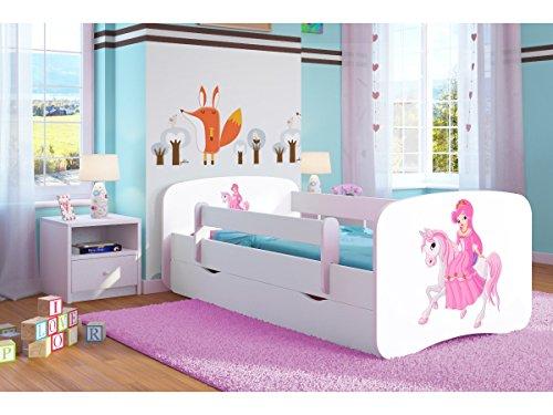 Kocot Kids Kinderbett Jugendbett 70x140 80x160 80x180 Weiß mit Rausfallschutz Matratze Schublade und Lattenrost Kinderbetten für Mädchen und Junge - Prinzessin auf dem Pony 140 cm