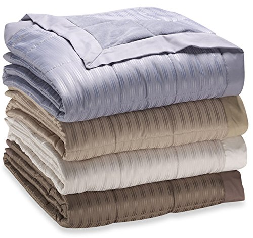 JBFF 250 Thread Count Microfiber Reverse to Fleece Goose Down Alternative Blanket, Full/Queen, Khaki