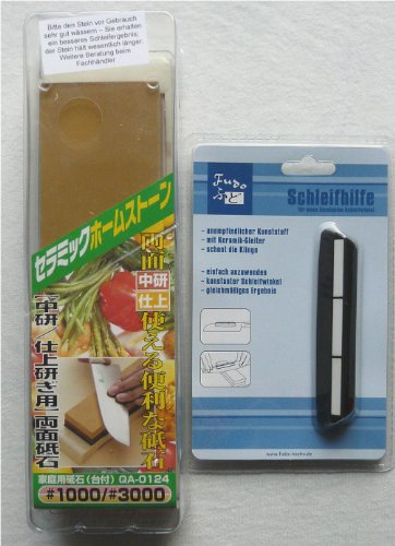 japanischer Wasserstein, Schleifstein für Damast Messer, Körnung 1000 und 3000, mit Winkelklemme