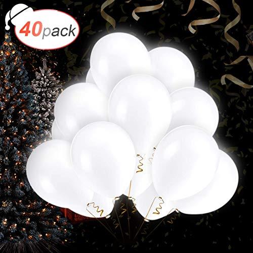 AGPTEK 40 PCS Ballons LED Blanc Ballons Lumineux 3 Mode d'Eclairage, Décoration Lumineuse pour...