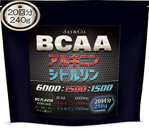 JAY&CO. 無添加人工甘味料 BCAA + アルギニン & シトルリン 国内製造 (ノーフレーバー, 240g)