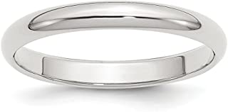 Solid 925 Sterling Silver 3mm Half-Round Plain Classic Traditional Wedding Band Ring (3mm)