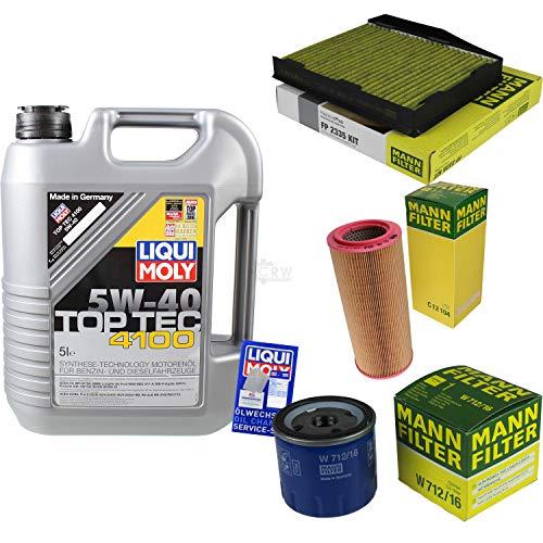 Filter Set Inspektionspaket 5 Liter Liqui Moly Motoröl Top Tec 4100 5W-40 MANN-FILTER Innenraumfilter Luftfilter Ölfilter