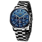 LIGE Relojes para Hombre Moda Acero Inoxidable Deportivo Analógico Reloj Cronógrafo Impermeable Negocios Reloj de Pulsera (Blue Black)
