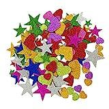 SUPVOX 230 Unids Glitter Pegatinas Autoadhesivas corazón y Estrellas Formas para Manualidades de artesanía Infantil Tarjetas de felicitación decoración de la Pared en casa