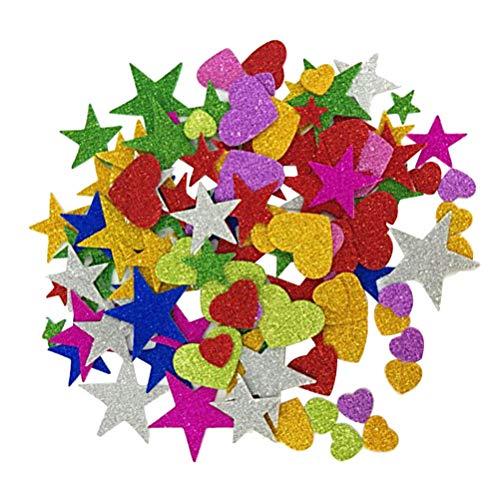 SUPVOX 230 Unids Glitter Pegatinas Autoadhesivas corazón y Estrellas Formas para Manualidades...