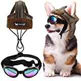 Frienda 2 Pieces Dog Pilot Costumes Dog Pilot Hat with Goggles Dog Winter Warm Hat with Ear Holes Dog Leather Fleece Trapper Cap Motorcycles Protect Hat for Small Medium Dogs