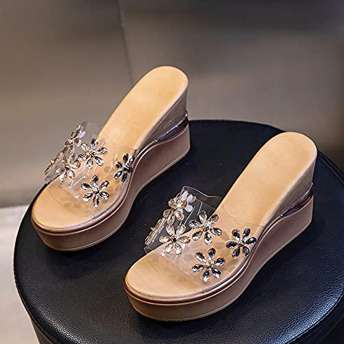 Sandalias de cuña de plataforma para mujer con punta con goteras de diamantes de imitación Suelas de poliuretano antideslizantes resistentes al desgaste Adecuado para verano Ocio al aire libre