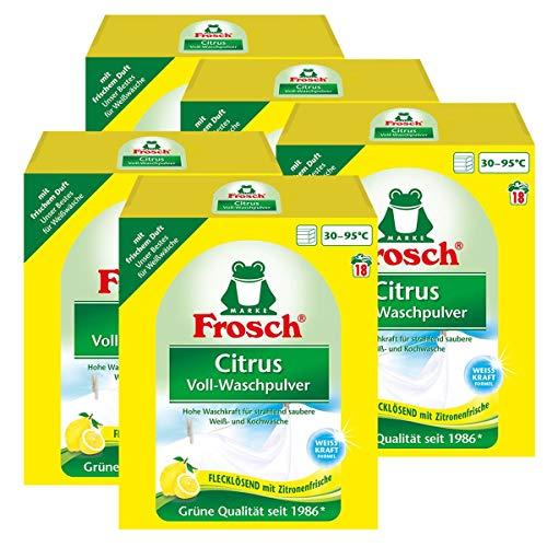 4x Frosch Citrus Voll-Waschpulver 1,35 kg - Flecklösend mit Zitrone