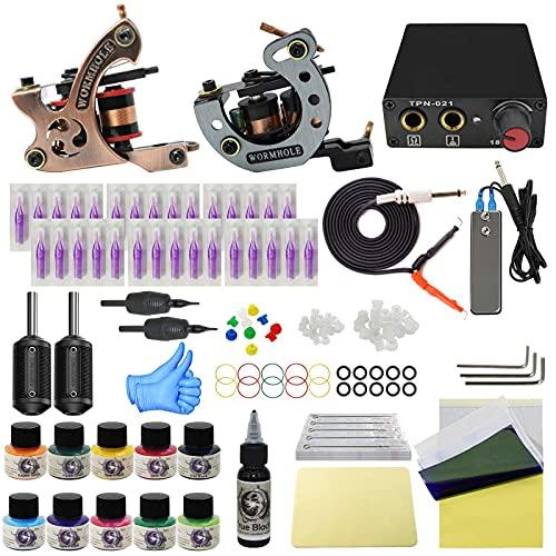 Wormhole Complete Tattoo Kit for Beginners Tattoo Power Supply Kit 10 Tattoo Inks 30 Tattoo Needles 2 Pro Tattoo Machine Kit Tattoo Gun Kit TK1000020