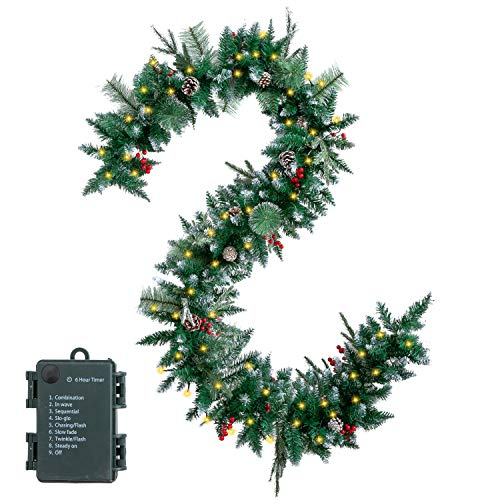 9 Feet Snow Flocked Christmas Garland Including 50 Lights, Pine Cones, Red Berries for Best Holiday Season Decorations