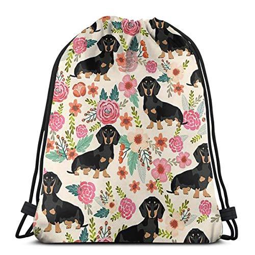 Funny Dachshund Dog Drawstring Backpack Bag Men Women Sport Gym Sackpack For School Hiking Yoga Gym Swimming Travel Beach