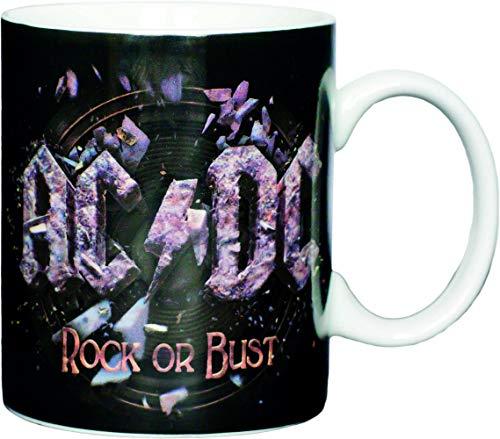 AC/DC Kaffeetasse Rock oder Bust, Porzellan, schwarz, 8 cm
