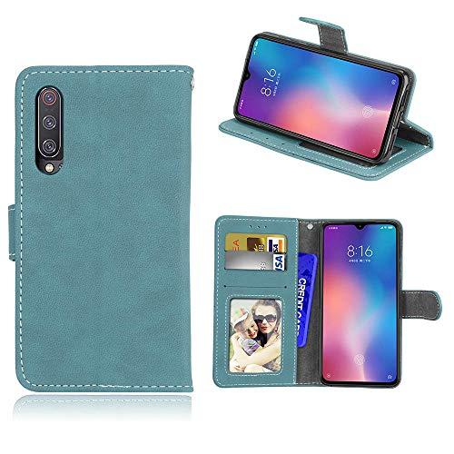 Capa para Xiaomi Mi 9 SE, capa flip de couro sintético fosco com 3 compartimentos para cartões, capa flip azul