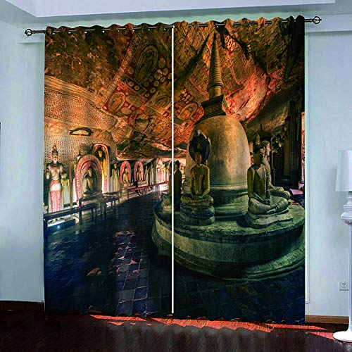 Ayvvaceo 3D Digital Printing Polyester Fiber Curtains, Garden Living Room Kitchen Bedroom Blackout Curtains, Perforated Curtains 2 Piece Set Halloween Creative Religious Pattern 182(W) X214(H) Cm