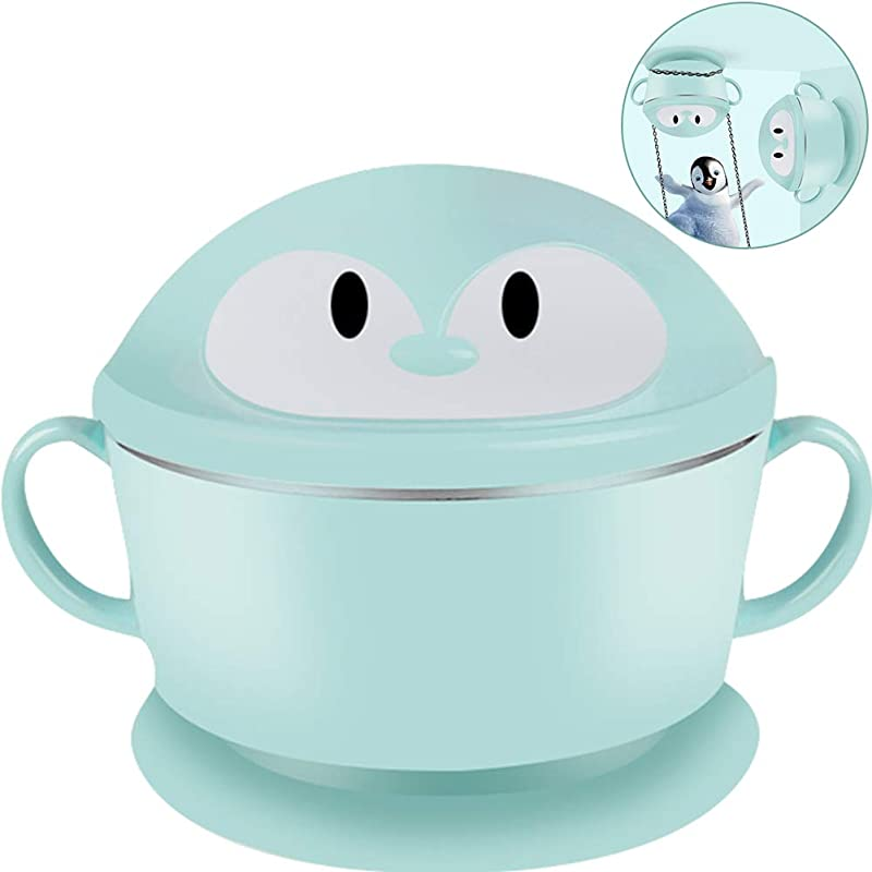 TINTON LIFE Penguin Children Bowl Stainless Steel Sucking Baby Bowl Feeding Bowls Suction Cup Bowls For Toddlers Green