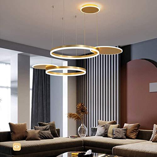 Moderne LED Pendelleuchte Kronleuchter Wohnzimmer Dimmbar mit Fernbedienung Kreativ Pendellampe Rund 5 Ringe Hängeleuchte Metall Acryl Hängelampe Esszimmer Lampe Wohnzimmer Leuchte 80W (A-golden)