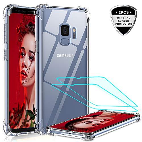 LeYi per Cover Samsung Galaxy S9 Custodia con 3D Pet Pellicola [2 Pack],Cover Silicone Antiurto Rigida PC Protettiva Bumper Trasparente TPU, Originale Custodia per Samsung Galaxy S9 Trasparente