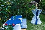 Sensalux 5X Stehtischhusse, Oeko-TEX®100, abwaschbar, weiß, 80 cm, Schleifenband grau, Husse für Stehtische, Bistrotisch, Tischüberzug, stoffähnliches Vlies, Catering, Vereinsfeier, Geburtstag - 8