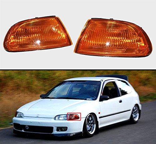 Fits for 1992-1995 Honda Civic 2/3 Door EG JDM Vision Turn Signal Corner Lamp Lights - Amber