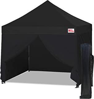 MasterCanopy Ez Pop-up Canopy Tent 10x10 Commercial Instant Canopies with 4 Removable Side Walls and Roller Bag, Bonus 4 SandBags (10x10 Feet, Black)