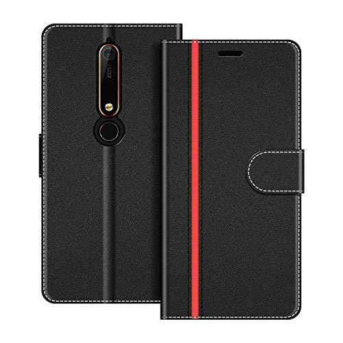 COODIO Handyhülle für Nokia 6.1 Handy Hülle, Nokia 6.1 Hülle Leder Handytasche für Nokia 6.1 Klapphülle Tasche, Schwarz/Rot