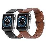 BNBIDEN 2 Sets Compatible pour Bracelet Apple Watch 44mm 42mm Cuir Véritable Bracelet de Remplacement Compatible avec iWatch Séries SE 6/5/4/3/2/1 pour homme et femme