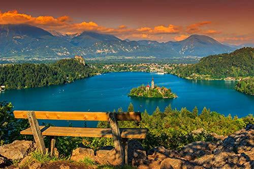 LFNSTXT Rompecabezas para adultos, 1000 piezas, diseño de casas, paisaje de la isla de Eslovenia, para adultos, familias y niños. Juguete educativo para decoración del hogar (70 x 50 cm)