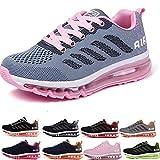 Air Zapatillas de Running para Hombre Mujer Zapatos para Correr y Asfalto Aire Libre y Deportes Calzado Unisexo Gray Pink 34