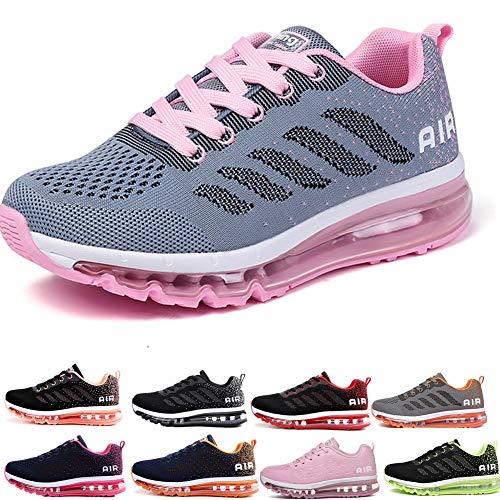 frysen Herren Damen Sportschuhe Laufschuhe mit Luftpolster Turnschuhe Profilsohle Sneakers Leichte Schuhe Gray Pink 41