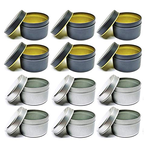 Gesh Candle Tin 12Pcs 4Oz Candle Containers Candle Tin Jars Round Shape Candle Storage Box for DIY Candle Making Kit