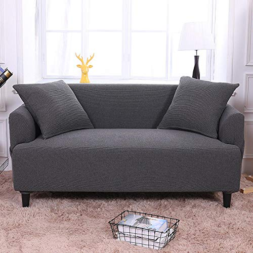 HXTSWGS Funda de sofá de Alta Elasticidad,Sofa Covers, 3 Seater Couch Covers for Living Room Sofa Slipcovers Furniture Covers with Elastic Bottom-Dark Gray_90-140cm