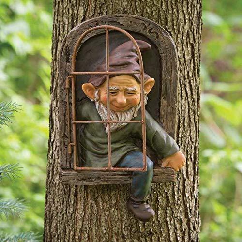 AGDLLYD Garden Gnome Statue,Gnome Tree Window,Elf Out the Door,Resin Garden Figurines,Tree Huggers Garden Decor,Fairy Garden Ornaments Outdoor,Whimsical Tree Sculpture Garden Decoration