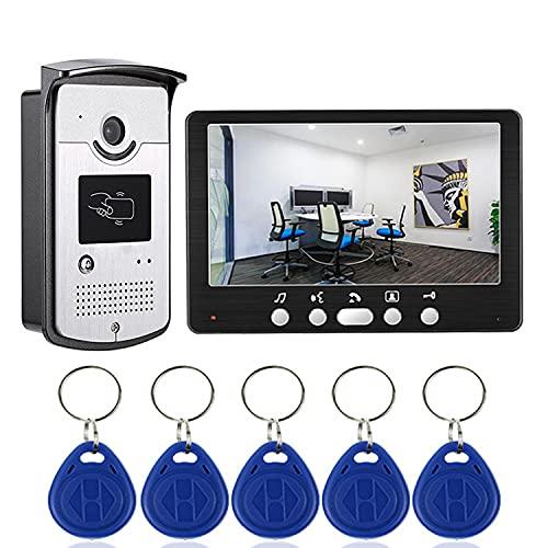 Kits De Sistema De Videoportero para Puerta De Entrada, Timbre De Video con Cámara De Seguridad, Monitor De Pantalla LCD TFT De 7', Tarjeta De 5 Accesos para Monitoreo, Desbloqueo De Llavero RFID