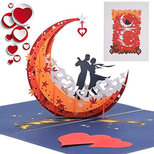 BESLIME Tarjeta de San Valentín en 3D, Tarjeta de Cumpleaños Romántica y Tarjeta Emergente Para Aniversario Boda Amor