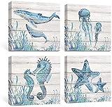 YDH Accesorios Playa Azul Lienzo Cuadros Costero Estampados Rústicos Caballito de mar Medusas Caballito de mar Tiburón Obras de arte Decoraciones Dormitorio 30x30x4 Paneles