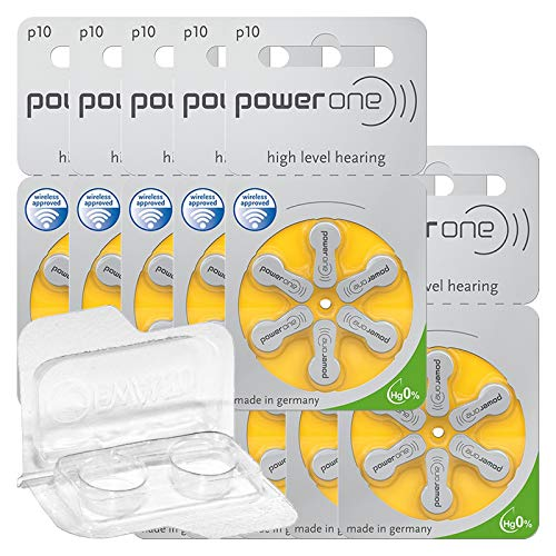 60x Power One 10 Hörgerätebatterien 10x6er Blister PR70 Gelb 24610 + Aufbewahrungsbox für 2 Hörgerätebatterien (10, 13, 312, 675), Batteriebox für 2 Knopfzellen bis 12 mm x 6 mm (Ø x H)