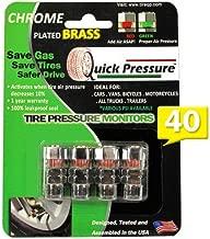 Quick Pressure QP-000040 Tapón de válvula de Control de presión de neumáticos, latón Chapado en Cromo, 40 PSI (Paquete de 4)