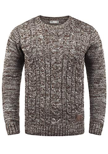 !Solid Philemon Herren Winter Pullover Strickpullover Grobstrick Pullover Zopfstrick mit Rundhalsausschnitt, Größe:XL, Farbe:Coffee Bean (5973)