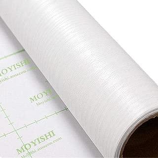 Moyishi Self Adhesive White Wood Grain Furniture Stickers PVC Wallpaper cabinets Gloss Film Vinyl Counter Top Decal 24''x79''
