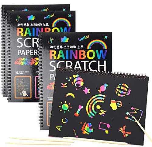 Umikk 40 Sheet Rainbow Scratch Paper with 4 Wood Sticks, 4 Packs Scratch Art Notebooks, Fun Art...