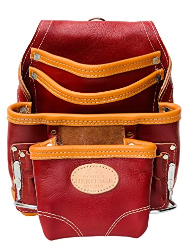 Western Heritage | Premium Top Quality Cow Grain Leather Heavy Duty Tool Pouch Bag | Maroon Color | Professional Grade | Carpenter, Construction, Framers, Handyman Pouch, 10 Pockets, 2 Hammer Holders
