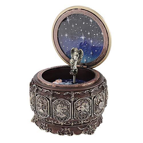 Caja de música vintage, caja musical de mecanismo tallado en resina con 12 constelaciones Luces LED de diosa giratoria Aplicar para cualquier ocasión (12 series de constelaciones)(5#)