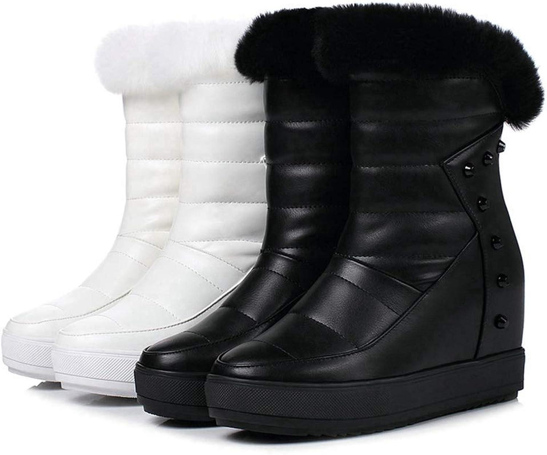 T-JULY Women's Fashion Mid Calf Winter Snow Boots Zipper Design Short Plush Round Toe Wedges Heel shoes