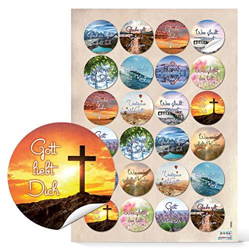 Logbuch-Verlag 48 Sprüche Aufkleber Gott Glaube Religion Kraft Weisheiten Worte Text und Zitate Kommunion Taufe 4 cm rund spirituell