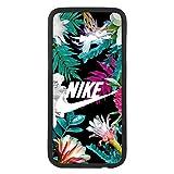 afrostore Funda Carcasa de móvil para Samsung Galaxy S6 Edge Plus Logotipo Nike Tropical con Flores Logo TPU Borde Negro