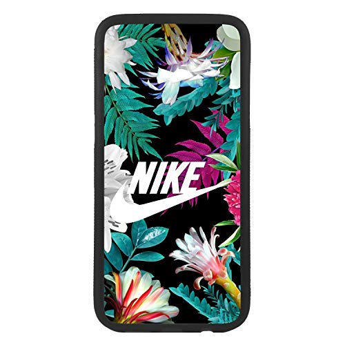 afrostore Funda Carcasa de móvil para Apple iPhone 5 5s Logotipo Nike Tropical con Flores Logo TPU Borde Negro