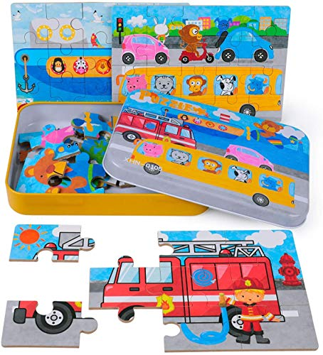 Rolimate 4-in-1-puzzels voor kinderen 56-delige puzzels 3 4 5-jarige jongen en meisje brandweerwagen vliegtuigcruise-auto voorschoolse puzzels voor peuters met metalen doos (transport)