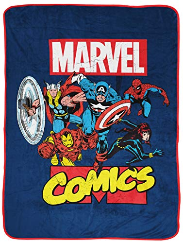 Marvel Comics Avengers Heroes Throw Blanket - Measures 46 x 60 inches, Kids Bedding Features Captain America, Spiderman, & Iron Man - Fade Resistant Super Soft Fleece (Official Marvel Product)